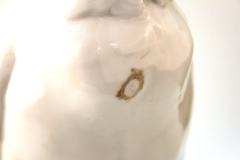 European White-Glazed Porcelain Cockatoo For Sale 5