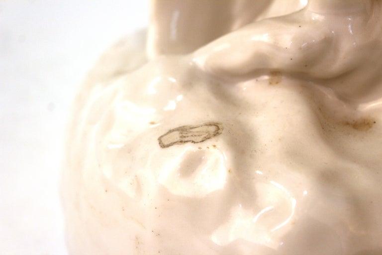 European White-Glazed Porcelain Cockatoo For Sale 6