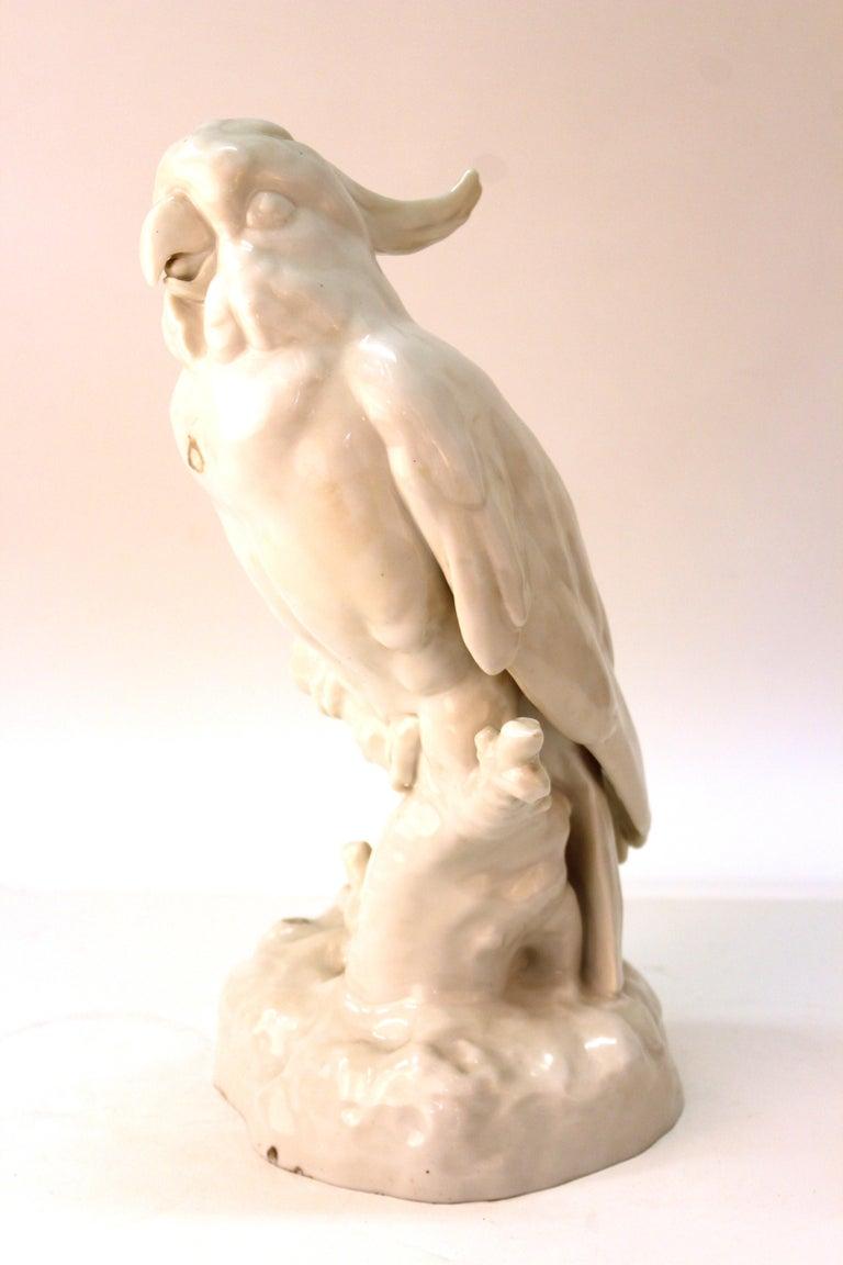 Neoclassical Revival European White-Glazed Porcelain Cockatoo For Sale