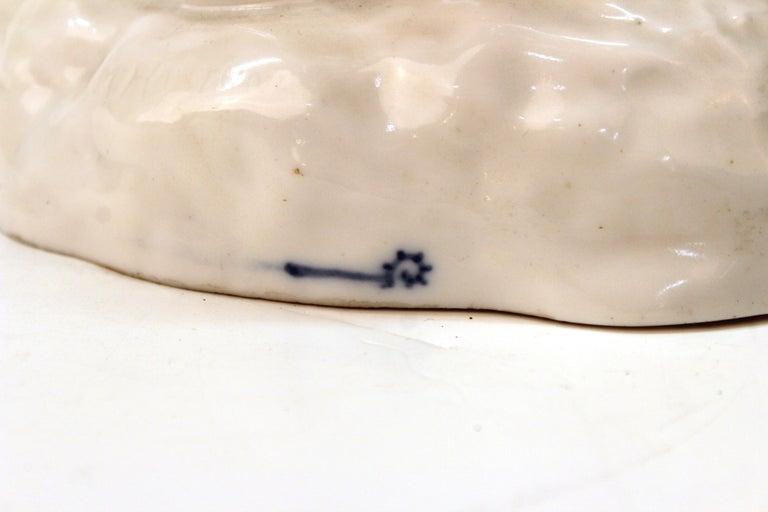 European White-Glazed Porcelain Cockatoo For Sale 1