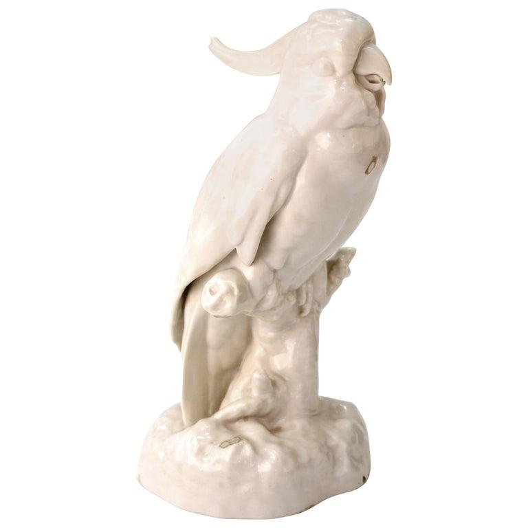 European White-Glazed Porcelain Cockatoo For Sale
