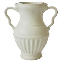 European White Urn Form Ceramic Pottery Vase