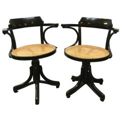 European Wood and Vienna Straw Swivel Chairs in Thonet Style, 1900s