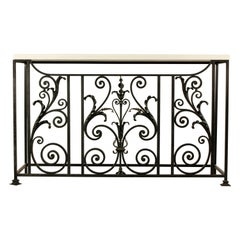 European Wrought Iron Console Table with Marble Top