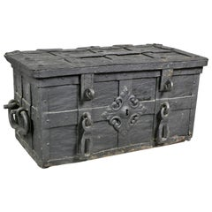 European Wrought Iron Strongbox