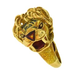 European Yellow Gold Lion Head Color Enamel Vintage Ring
