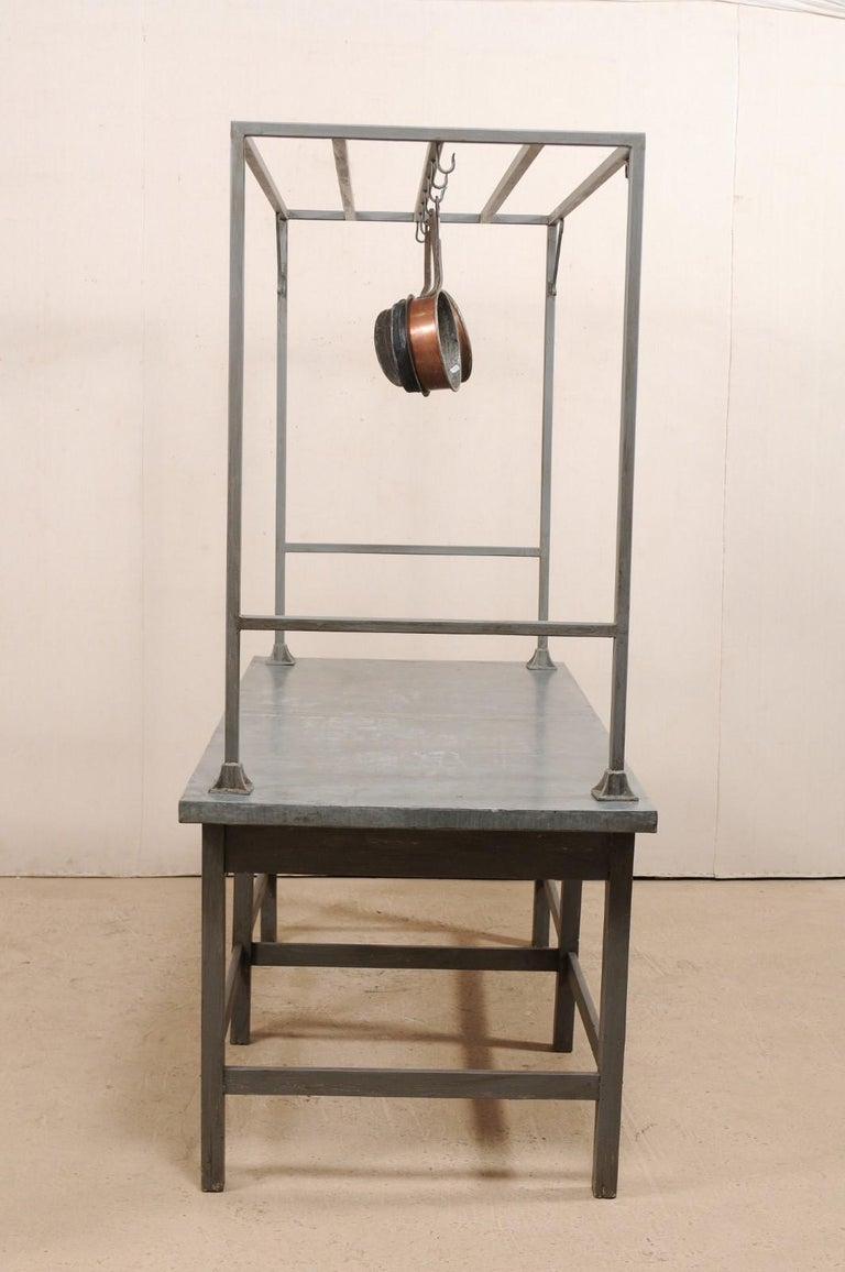 european zinctop kitchen work table with upper rack at