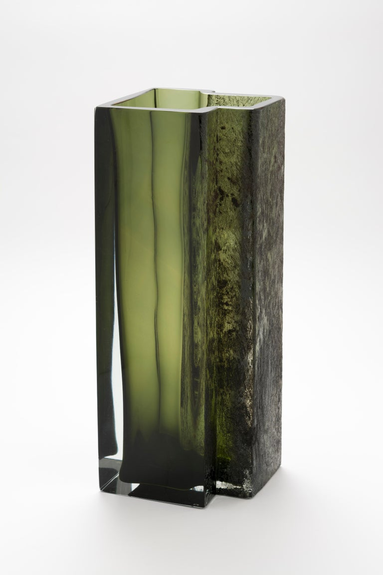 Eurytmia vase by Paolo Marcolongo Dimensions: 15.7 x 16.2 x H 42 cm  Materials: Murano glass and iron.    Paolo Marcolongo was born in Padua in 1956, he attended the Art High School