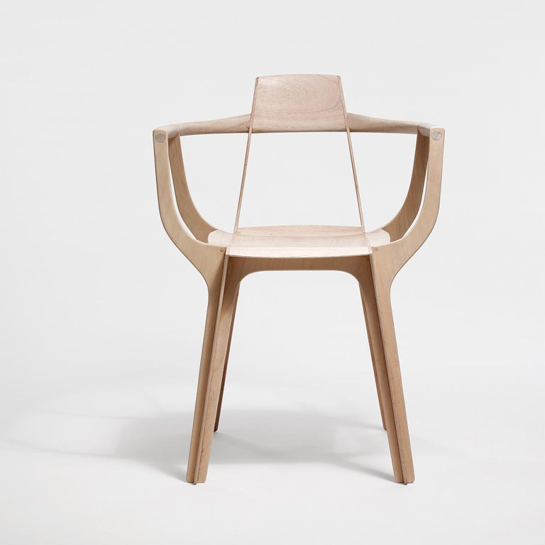 Modern Eutopia Armchair in Kiri Wood by Francisco Gomez Paz For Sale