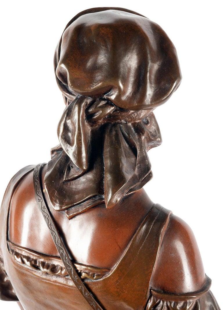 Eutrope Bouret Bronze Statue of Gypsy Girl Musician For Sale 5