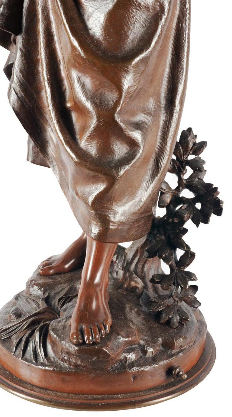 Eutrope Bouret Bronze Statue of Gypsy Girl Musician For Sale 6