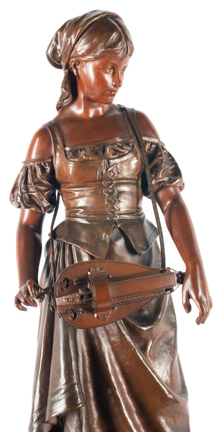Romantic Eutrope Bouret Bronze Statue of Gypsy Girl Musician For Sale