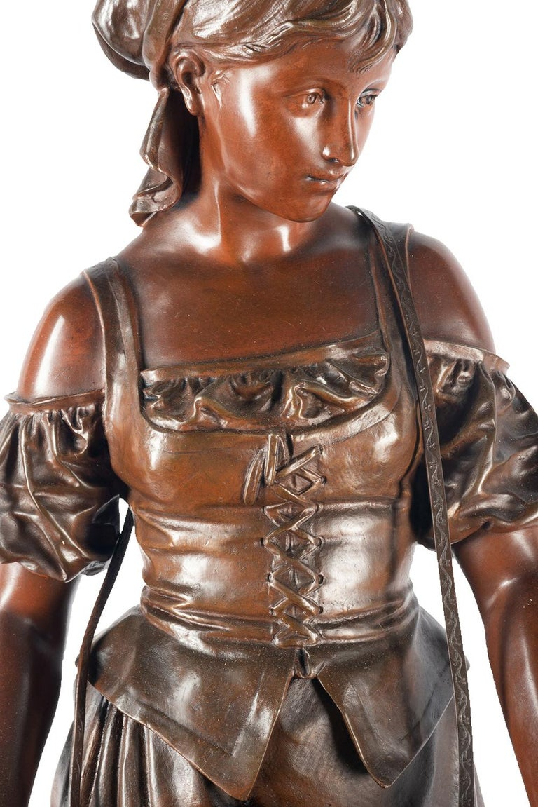 French Eutrope Bouret Bronze Statue of Gypsy Girl Musician For Sale