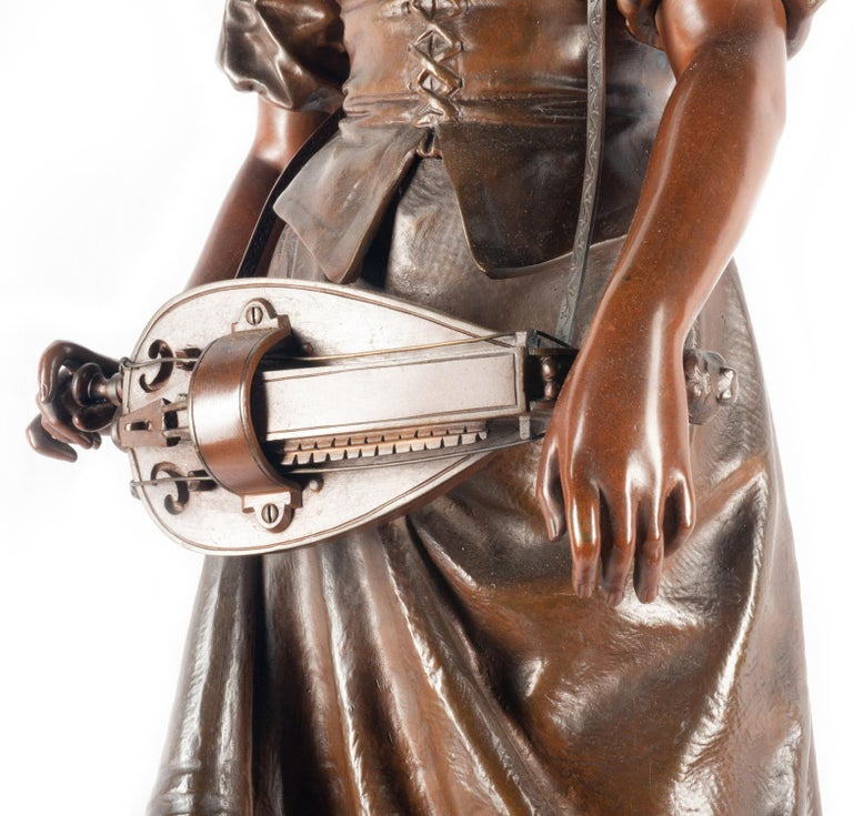 Patinated Eutrope Bouret Bronze Statue of Gypsy Girl Musician For Sale