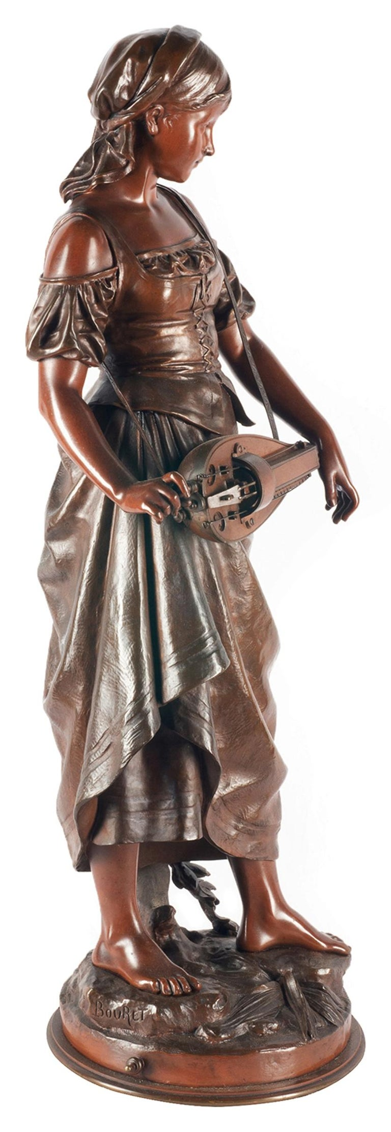 Eutrope Bouret Bronze Statue of Gypsy Girl Musician In Good Condition For Sale In Brighton, Sussex