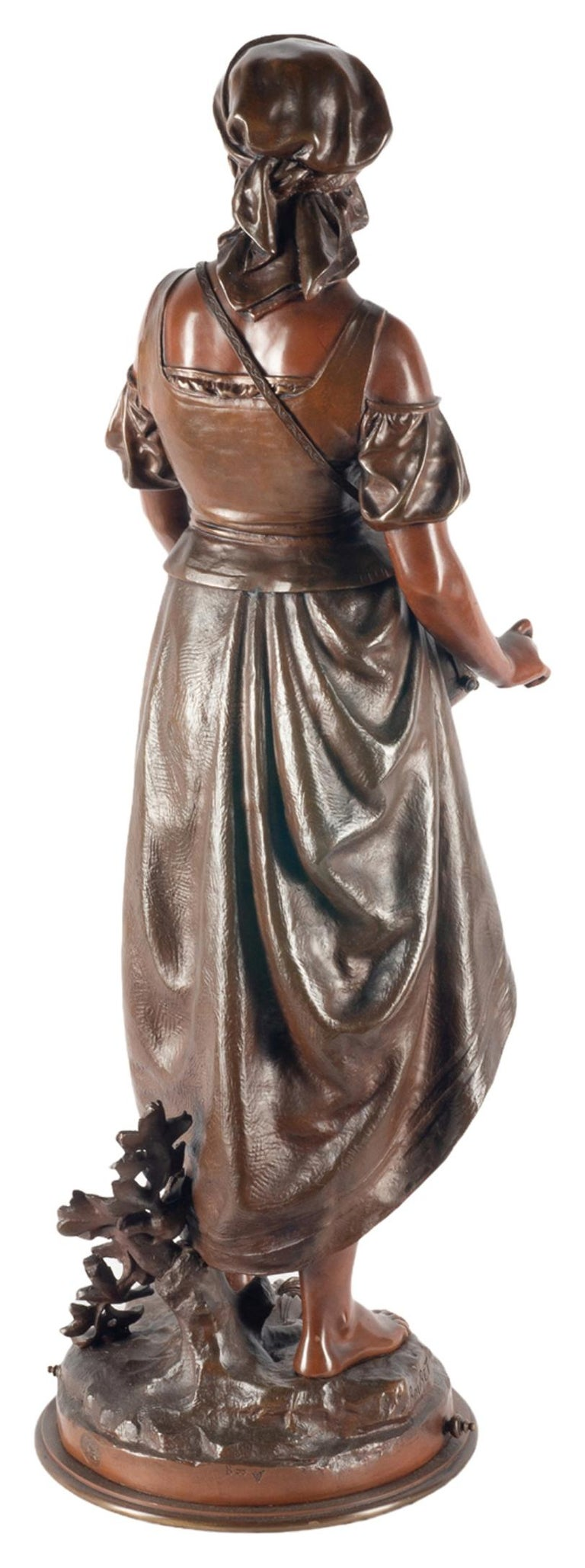 19th Century Eutrope Bouret Bronze Statue of Gypsy Girl Musician For Sale