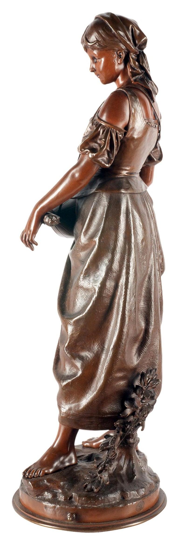 Eutrope Bouret Bronze Statue of Gypsy Girl Musician For Sale 1