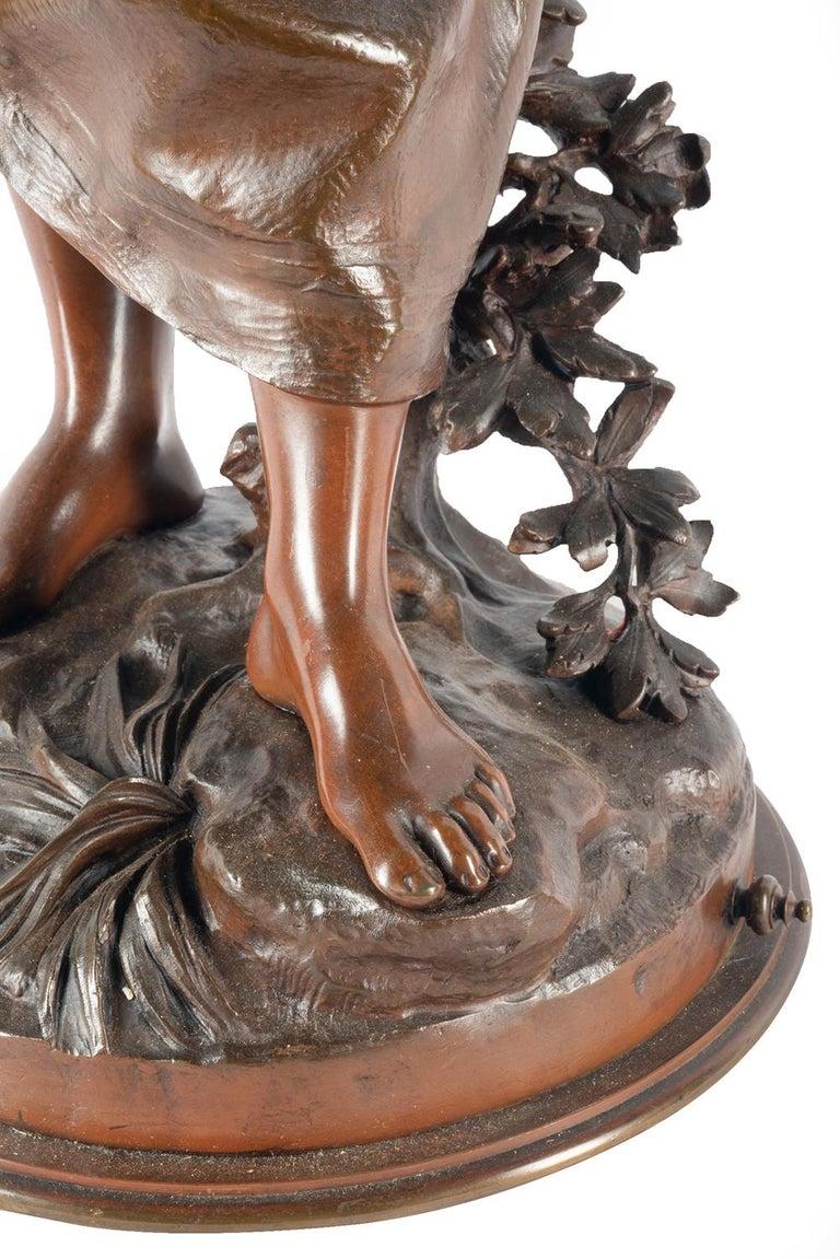 Eutrope Bouret Bronze Statue of Gypsy Girl Musician For Sale 2