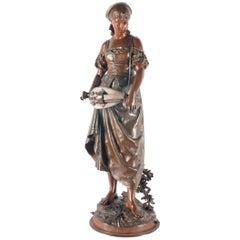 Eutrope Bouret Bronze Statue of Gypsy Girl Musician