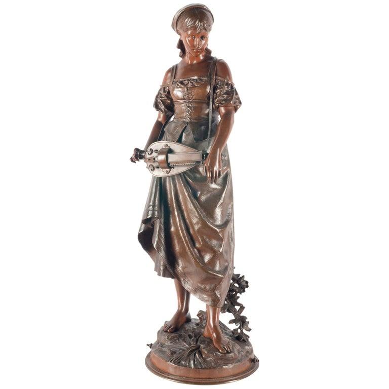 Eutrope Bouret Bronze Statue of Gypsy Girl Musician For Sale