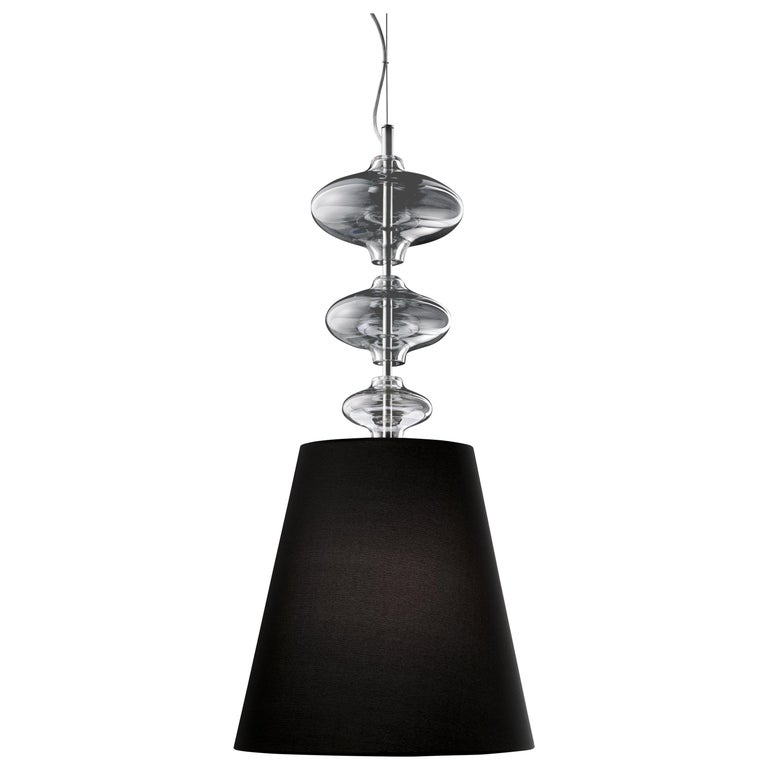 For Sale: Gray (Grey_IC) Eva 7057 Suspension Lamp in Glass with Black Shade, by Barovier&Toso
