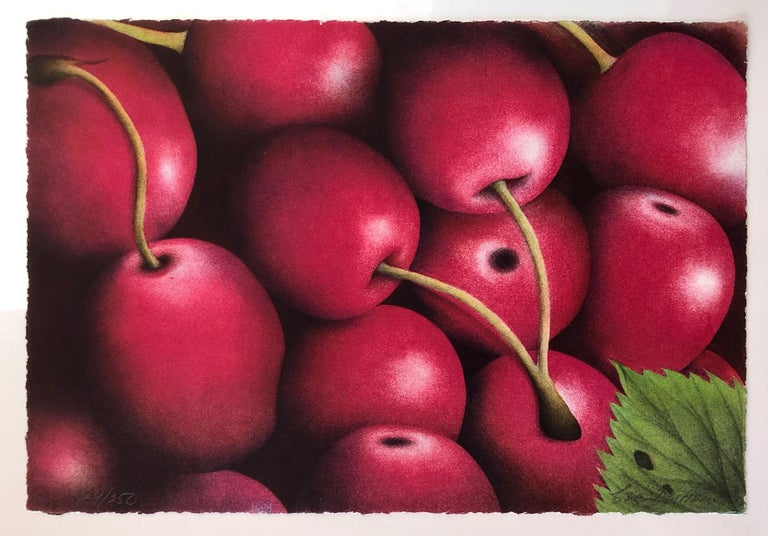 Signed and numbered lithograph from the edition of 250. Deckled edges. Bostrom's images of cherries is a perfect example of her use of color and composition. 10 other images are available from this series.  Eva Boström was Born in 1954 in