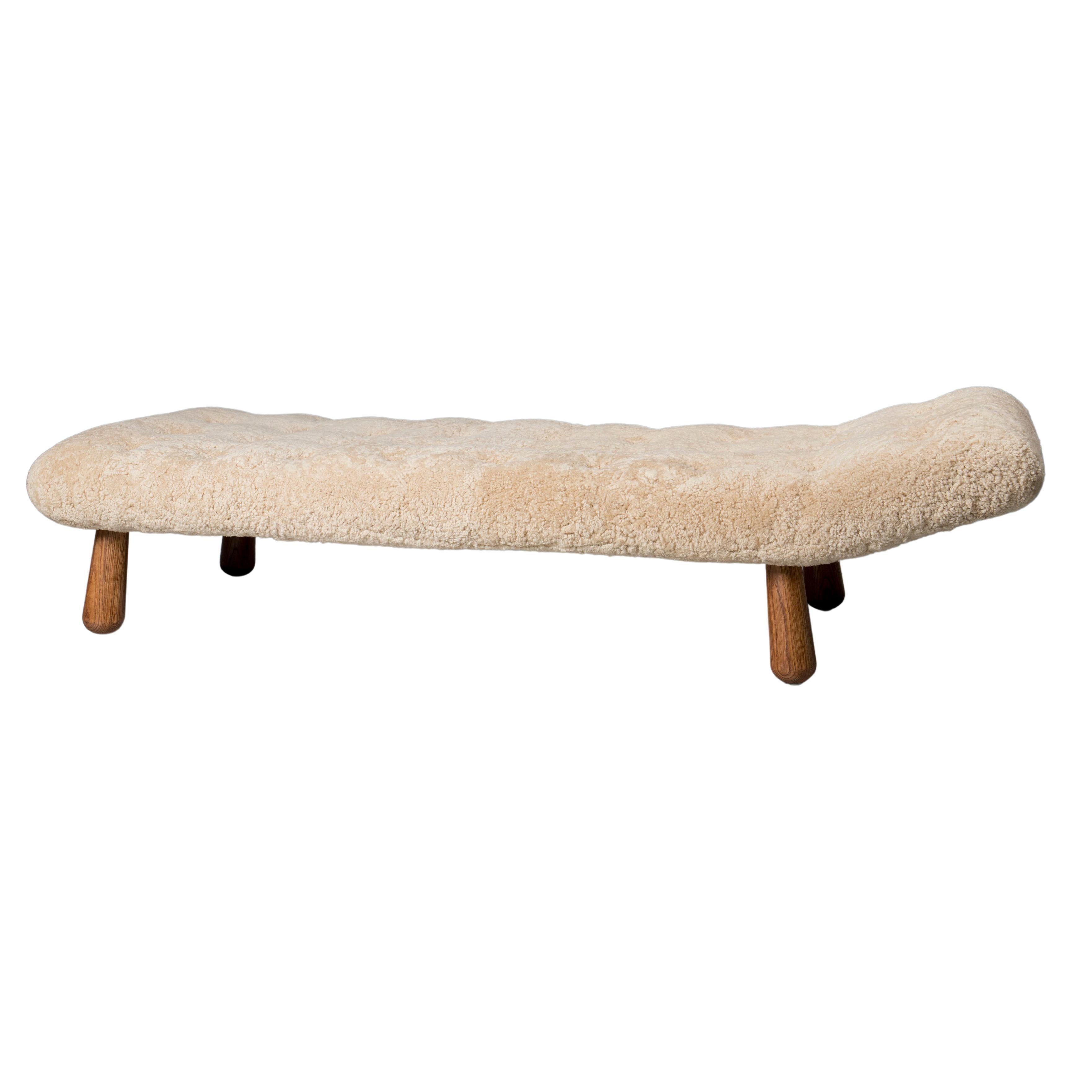 """Eva"" Chaise in Swedish Pine and Australian Shearling"