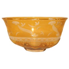 Eva Englund Orrefors Etched Glass Footed Oval Bowl in Yellow