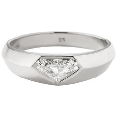 Eva Fehren 0.64 Carat Diamond Kent Signet Ring in 18 Karat Palladium White Gold