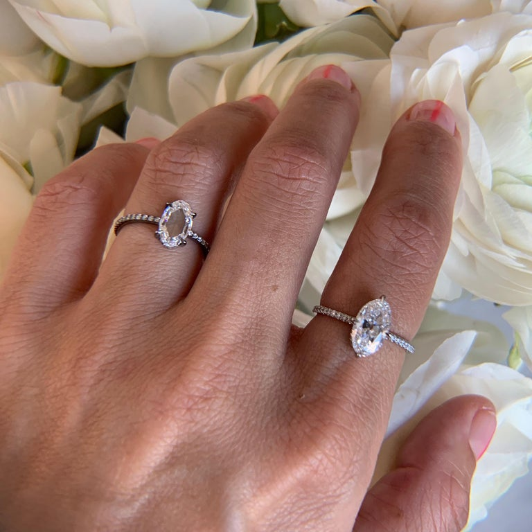 18k Blackened White Gold with 1.07ct Oval Rosecut White Diamond and White Diamond Pavé - Size 6  Handmade in New York City  Eva Fehren White, a bridal collection comprised of engagement rings and wedding bands, was launched in 2014, embodies the