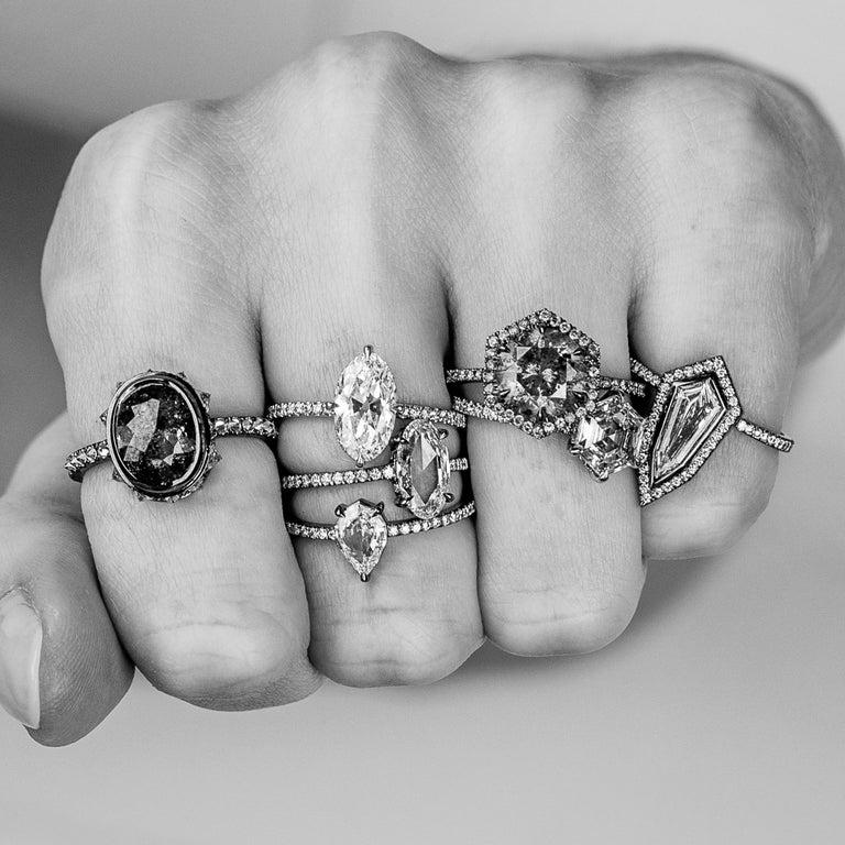 Rose Cut Eva Fehren 1.07 Carat Oval Rosecut Diamond Ring in 18 Karat Blackened White Gold For Sale