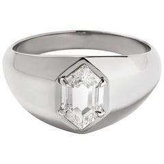 Eva Fehren 1.10 Carat Diamond Hero Signet Ring in 18 Karat Palladium White Gold