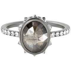 Eva Fehren 1.68 Carat Grey Diamond Ring in 18 Karat Blackened White Gold