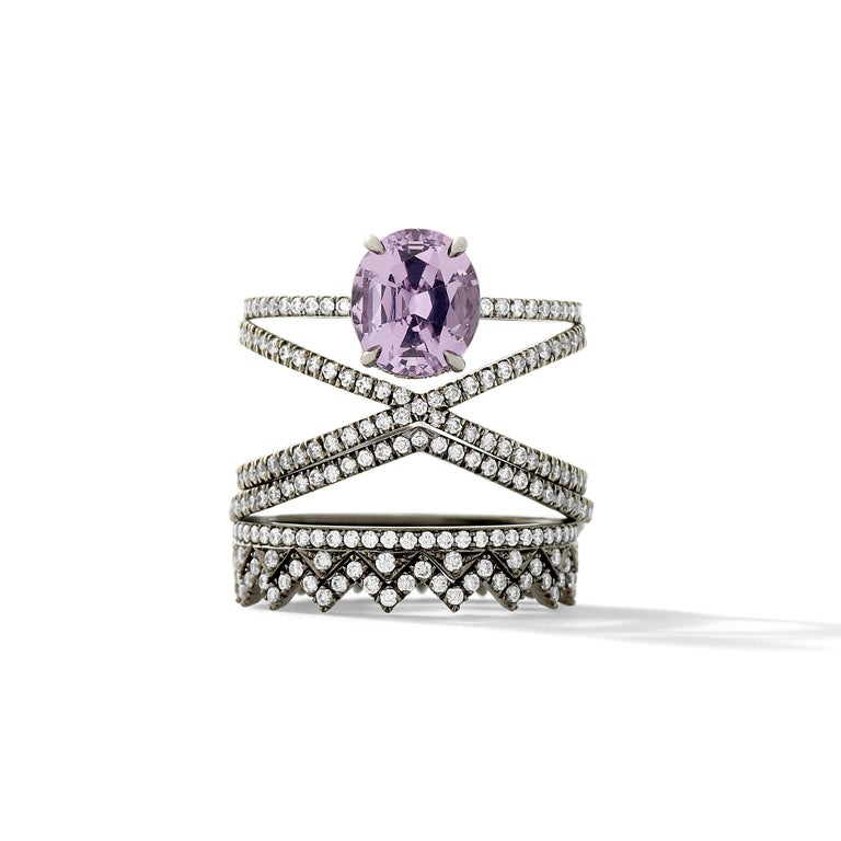 18k Blackened White Gold with 2.03 Ct Lavender Spinel and White Diamond Pavé - Size 6.   Handmade in New York City.  Eva Fehren White, a bridal collection comprised of engagement rings and wedding bands, was launched in 2014, embodies the classic,