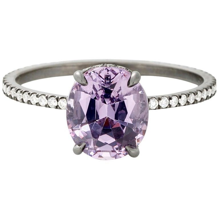 Eva Fehren 2.03 Carat Lavender Spinel Ring in 18 Karat Blackened White Gold For Sale