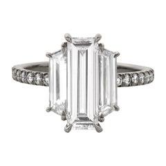 Eva Fehren 2.48 Carat White Diamond Ring in 18 Karat Blackened Platinum