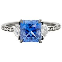 Eva Fehren 2.52 Ct Blue Sapphire Ring with 0.45 Carat Diamonds in 18K White Gold