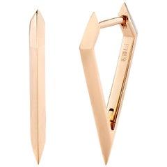 Eva Fehren Beveled Dagger Hoop Earrings in 18 Karat Rose Gold