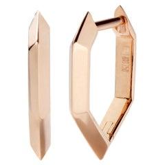 Eva Fehren Beveled Hex Hoop Earrings in 18 Karat Rose Gold