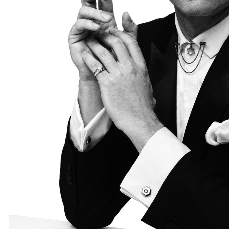 Contemporary Eva Fehren Double Chain Pin in 18 Karat White Gold with Black Diamonds For Sale