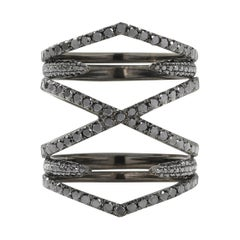 Eva Fehren General Black Diamond Ring in 18 Karat Blackened White Gold