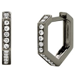 Eva Fehren Hex Hoop Earrings in 18K Blackened White Gold with White Diamonds