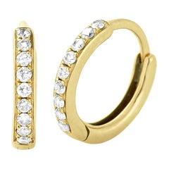 Eva Fehren Huggies in 18 Karat Yellow Gold with White Diamonds