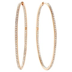 Eva Fehren Large Oval Hoops in 18 Karat Rose Gold with Pale Champagne Diamonds