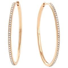Eva Fehren Medium Oval Hoops in 18 Karat Rose Gold with Pale Champagne Diamonds