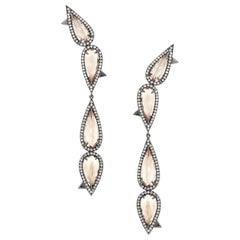 Eva Fehren Morganite Drop Earrings in 18 Karat White Gold with White Diamonds
