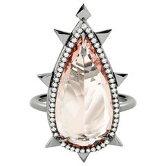 Eva Fehren Morganite Ring in 18 Karat White Gold with White Diamonds