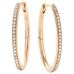 Eva Fehren Oval Hoops in 18 Karat Rose Gold with Pale Champagne Diamonds