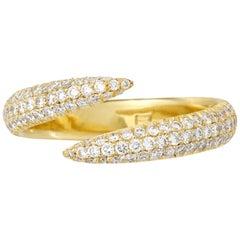 Eva Fehren Pave Wrap Claw Ring in 18 Karat Yellow Gold Pale Champagne Diamonds