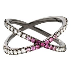 Eva Fehren Shorty in 18 Karat Blackened White Gold with Ombre Pink Sapphire